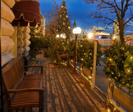 Christmas Decorations of Outdoor Café at Red Square in Twilight